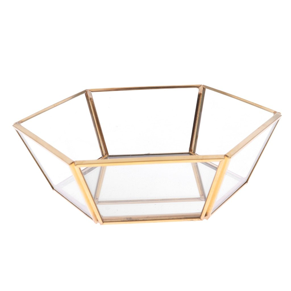 JTO Geometric Cut Clear Glass Jewelry Display Tray Makeup Organizer Succulent Plants Planter Solid Copper Wedding Favors Wedding Ceremony Gift from Friends