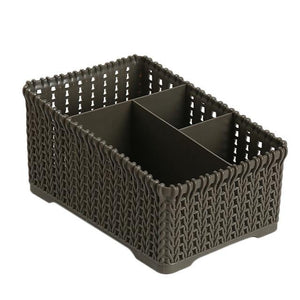 1 Pc Rattan Office Debris Baskets Cosmetics Remote Storage Makeup Organizer For