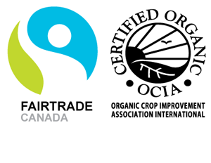 Organic, Vegan, Fairtrade and Gluten-free certification badges.