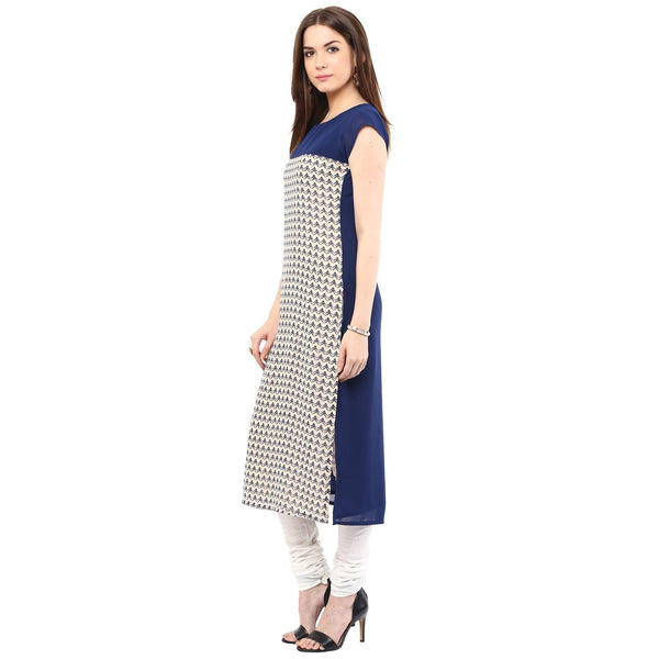 Women Printed Poly Crepe Straight Kurti