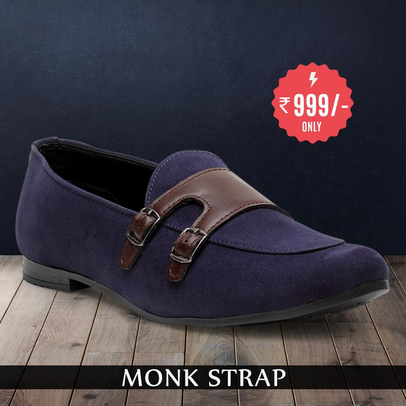 Treemoda Navy Blue Suede Monk Strap Shoes For Men