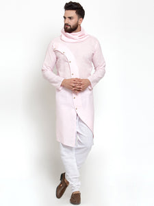 Pink Kurta With Aligarh Pajama Set in Linen For Men by Treemoda