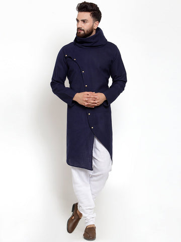 Navy Blue Kurta With Churidar Pajama Set For Men by Treemoda