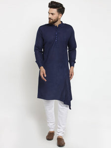 Navy Blue Kurta and Pajama for men | Designer Full Sleeve Linen Kurta and Churidar Pajama Set For Men
