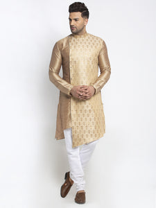 Embellished Brocade Golden Kurta With Churidar Pajama Set For Men By Treemoda