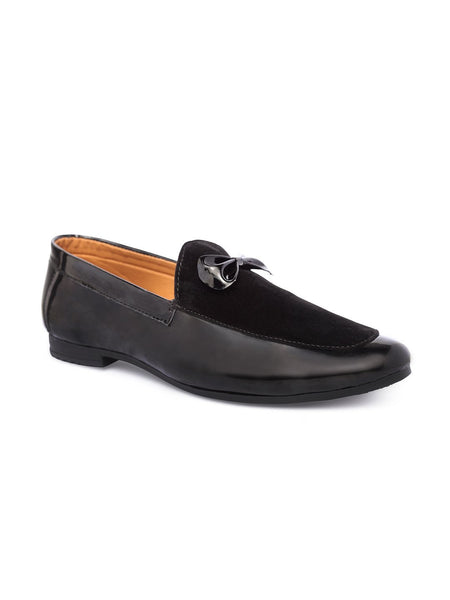 Treemoda Black Leather Semi Formal Loafers For Men