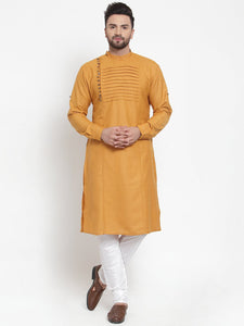Designer Mustard Yellow Kurta Pajama Churidar Set For Men By Treemoda