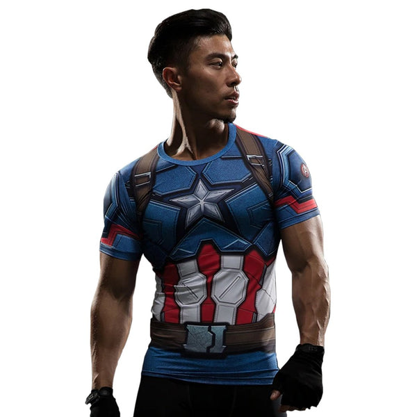 Men Compression supermen and captain america 3D Print T-Shirt