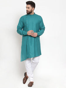 Designer Sea Green Kurta and Pajama for men | Designer Full Sleeve Liner Linen Kurta and Churidar Pajama Set For Men