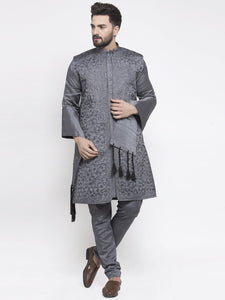 Men's Grey Embroidered Kurta Pajama, Jacket, and Scarf Set