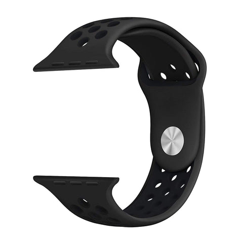 Silicone Sports Watch Strap for Apple Watch Series 5/4/3/2/1 (Charcoal Black Air Hole)