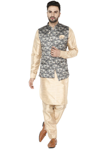 Treemoda Men's Beige Kurta Matching Pants With Printed Ethnic Nehru Jacket