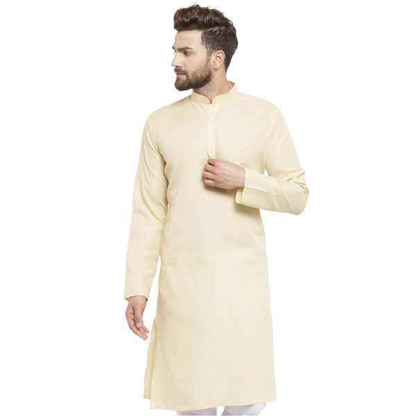New Lenin Plain Kurta In Beige By Treemoda