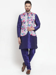 Treemoda Men's Dark Blue Kurta Matching Pants With Ethnic Nehru Jacket