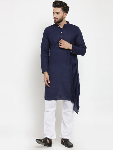 Navy Blue Kurta and Pajama for men | Designer Full Sleeve Linen Kurta and Aligarh Pajama Set For Men P7 Blue A