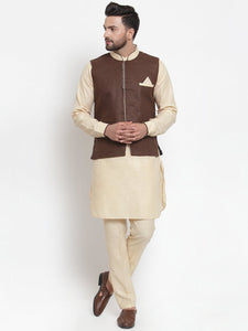 Treemoda Men's Beige Kurta Matching Pants With Ethnic Nehru Jacket