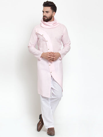 Pink Kurta With Aligarh Pajama in Linen For Men by Treemoda