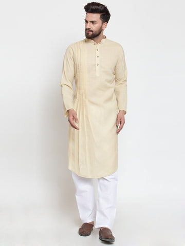Beige Kurta With Aligarh Pajama Set in Linen For Men by Treemoda