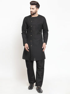 Black Kurta With Aligarh Pajama Set in Linen  For Men by Treemoda