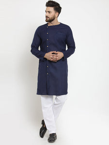 Navy Blue Kurta With Aligarh Pajama Set in Linen for men by Treemoda