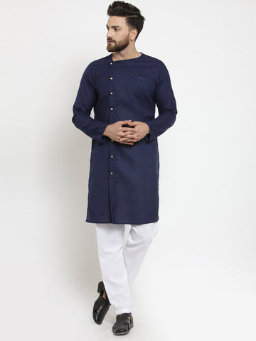 Navy Blue Kurta and Pajama for men | Designer Full Sleeve Linen Kurta and White Aligarh Pajama Set For Men P9 Blue A