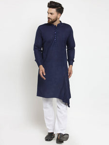 Navy Blue Kurta and Pajama for men | Designer Full Sleeve Linen Kurta and Aligarh Pajama Set For Men
