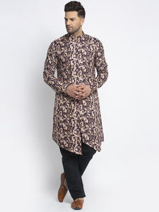 Designer Cotton Brown Block Printed Kurta With Aligarh Pajama Set For Men By Treemoda
