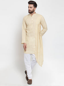 Beige Kurta With Churidar Pajama Set in Linen For Men by Treemoda