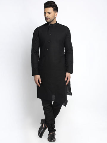 Designer Black Linen Kurta With Churidar Pajama Set For Men By Treemoda