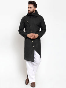 Black Kurta and Pajama for men | Designer Full Sleeve Linen Kurta and White Aligarh Pajama Set For Men