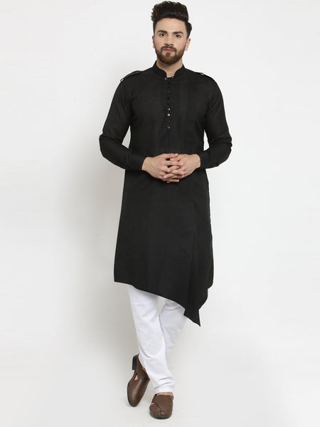 Black Kurta and Pajama for men | Designer Full Sleeve Linen Kurta and Churidar Pajama Set For Men