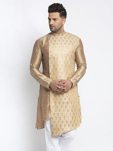 Designer Embellished Brocade Golden Kurta For Men By Treemoda