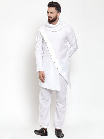 White Kurta With Aligarh Pajama in Linen For Men by Treemoda