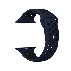 Silicone Sports Watch Strap for Apple Watch Series 5/4/3/2/1(Blue & Black Air Hole)