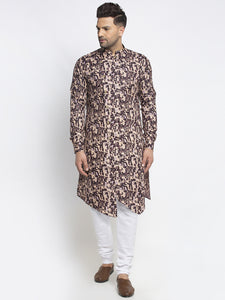 Designer Cotton Brown Block Printed Kurta With Churidar Pajama Set For Men By Treemoda