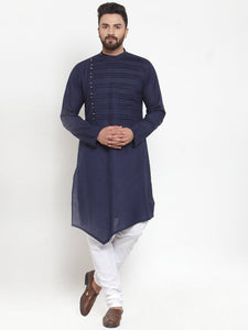 Designer Navy blue Kurta With Churidar Pajama Set in Linen for men by Treemoda