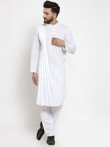Designer White Linen Kurta With Aligarh Pajama For Men By Treemoda