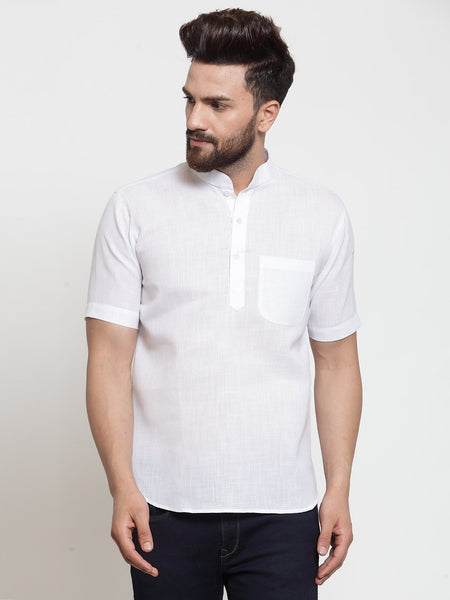 Designer White Short Linen Kurta for Men by TREEMODA