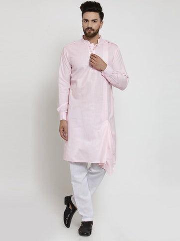 Pink  Kurta and Pajama for men | Designer Full Sleeve Linen Kurta and Aligarh Pajama Set For Men P8 Pink A