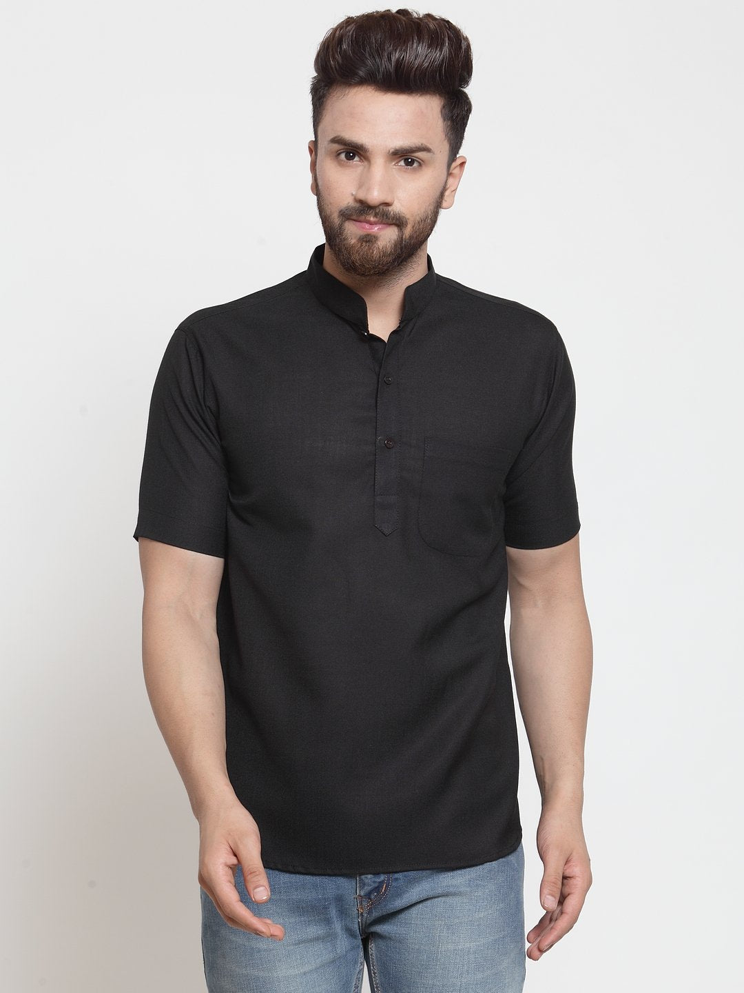 Designer Black Short Lenin Kurta for Men by TREEMODA