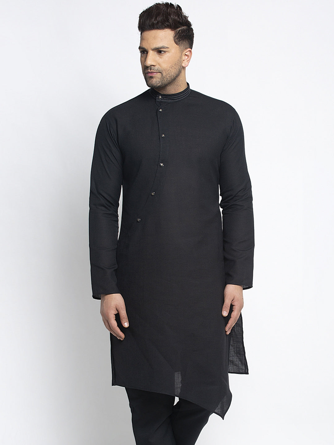 Designer Black Linen Kurta For Men By Treemoda