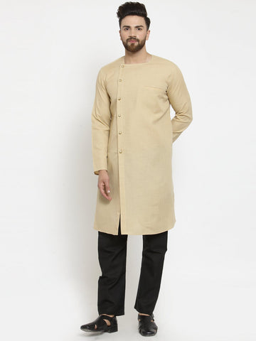 Beige Kurta With Black Aligarh Pajama Set  in Linen for men by Treemoda