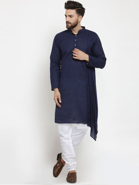 Navy Blue Kurta With Churidar Pajama Set in Linen For Men by Treemoda