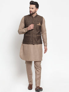 Treemoda Men's Coffee Kurta Matching Pants With Ethnic Nehru Jacket