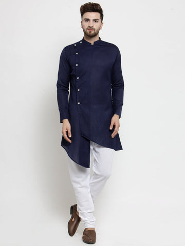 Designer Blue Linen Kurta With Chudidar Pajama For Men By Treemoda