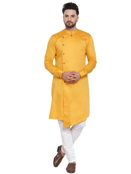 Designer Mustard Yellow Kurta With Churidar Pajama Set For Men By Treemoda