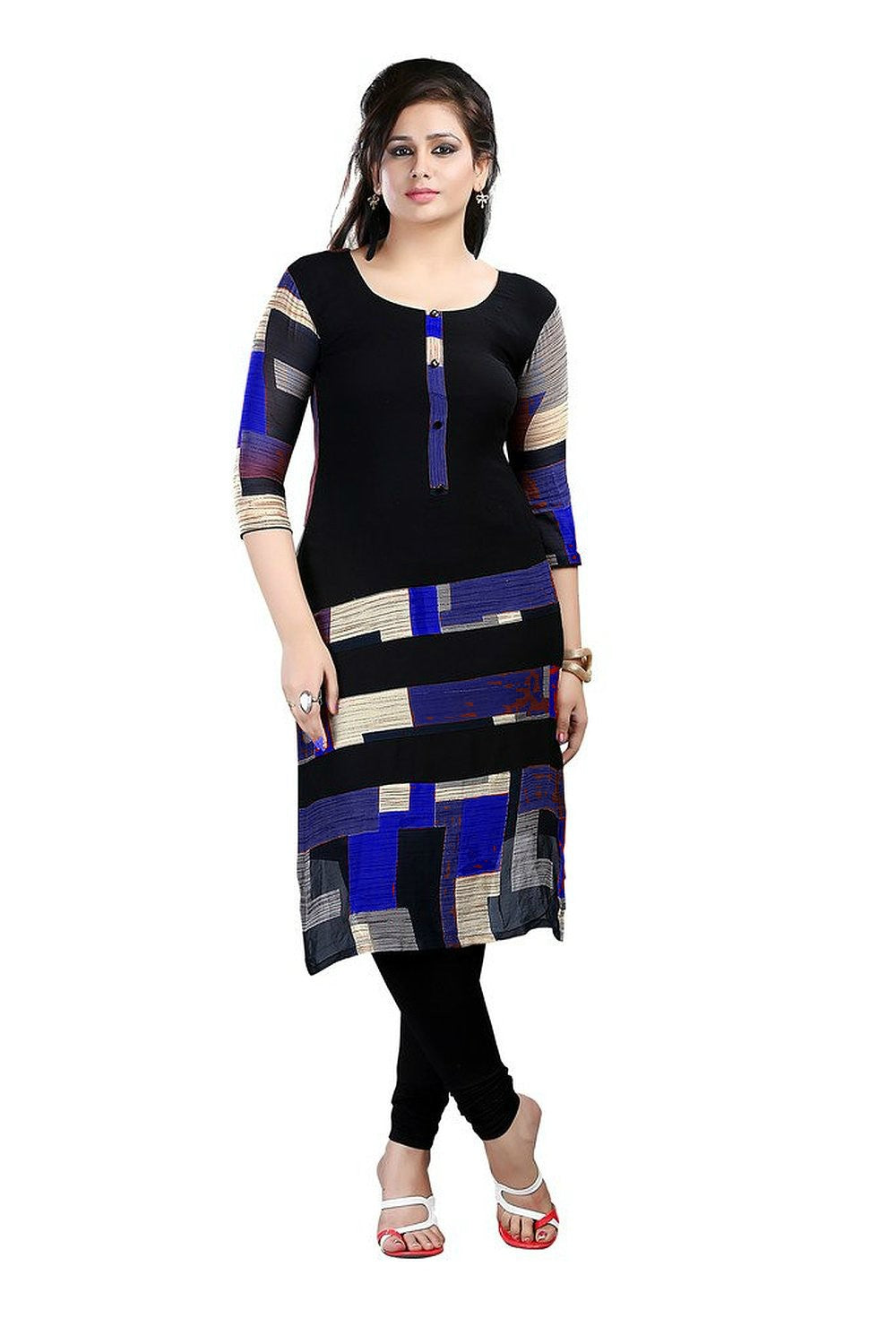Women Printed Poly Crepe Straight Kurti (BlackBlue)