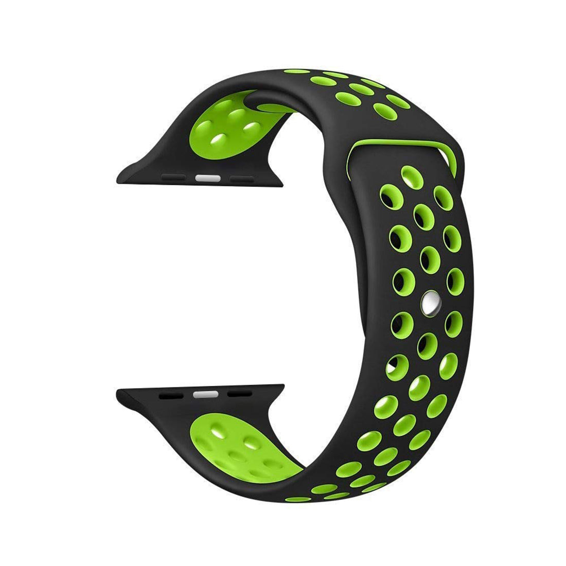Silicone Sports Watch Strap for Apple Watch Series 5/4/3/2/1 (Black & Green Air Hole)