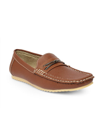 Treemoda Brown Leather Casual Loafers For Men