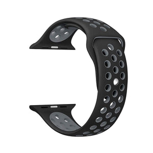 Silicone Sports Watch Strap for Apple Watch Series 5/4/3/2/1(Black and Grey)